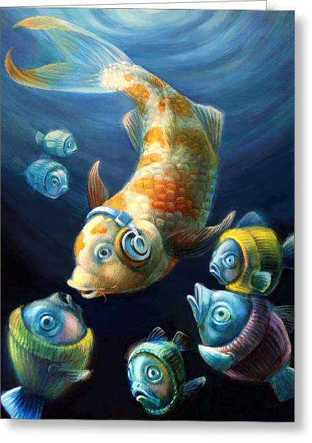 Surprise Greeting Cards - Easy Listening Streaker Fish Among the Sweater Fish Greeting Card by Vanessa Bates
