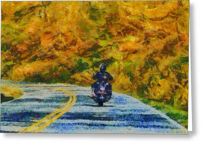 Fall Trees Mixed Media Greeting Cards - Easy Rider Greeting Card by Dan Sproul