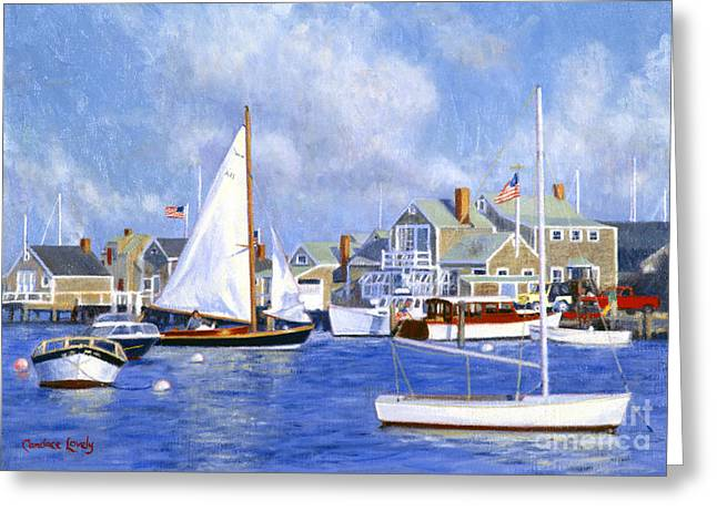 Boats In Harbor Greeting Cards - Easy Street Basin Blues Greeting Card by Candace Lovely