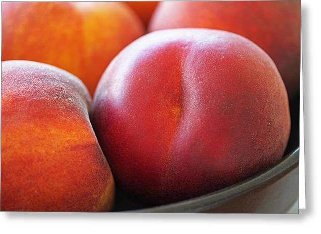 Red Photographs Greeting Cards - Eat a Peach Greeting Card by Rona Black