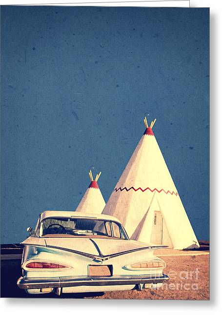 Highway Greeting Cards - Eat and Sleep in a Wigwam Greeting Card by Edward Fielding