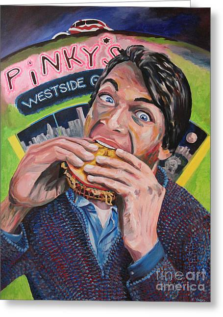 People Paintings Greeting Cards - Eat at Pinkys Greeting Card by Robert Yaeger