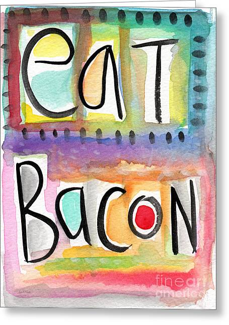 Purple Mixed Media Greeting Cards - Eat Bacon Greeting Card by Linda Woods