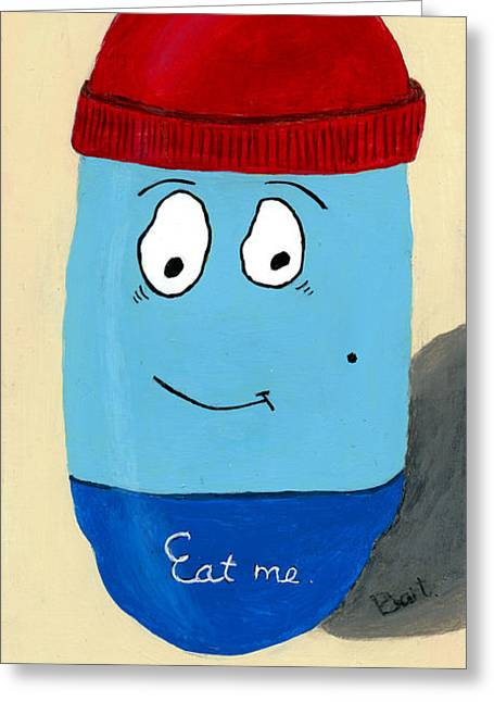 Pill Paintings Greeting Cards - Eat me Greeting Card by Bart Wiegant