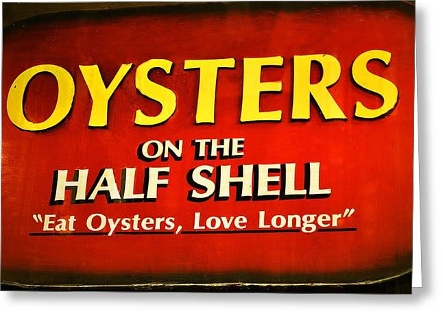 Oyster On Half-shell Greeting Cards - Eat Oysters Love Longer Greeting Card by Nadalyn Larsen