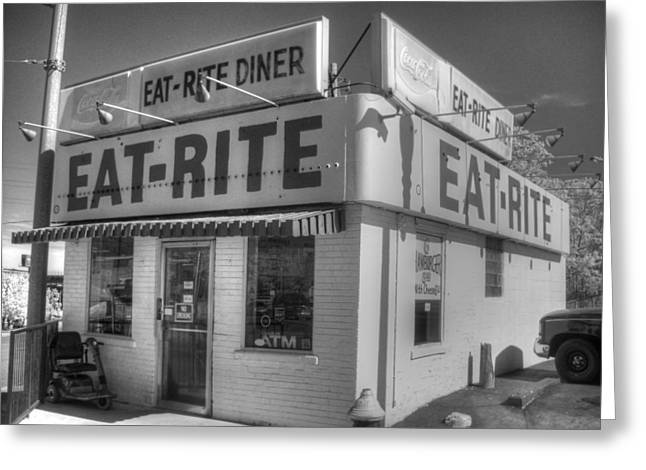 Greasy Greeting Cards - Eat Rite Diner Greeting Card by Jane Linders