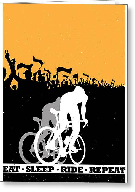 Sleep Paintings Greeting Cards - Eat Sleep Ride Repeat Greeting Card by Sassan Filsoof