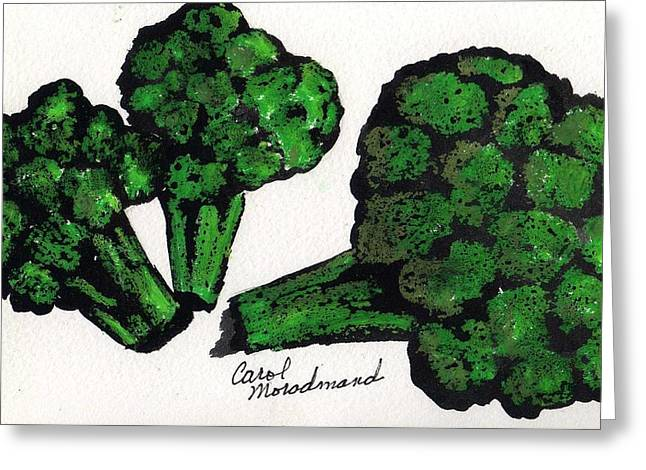 Broccoli Paintings Greeting Cards - Eat Your Broccoli  Greeting Card by Carol Lindquist
