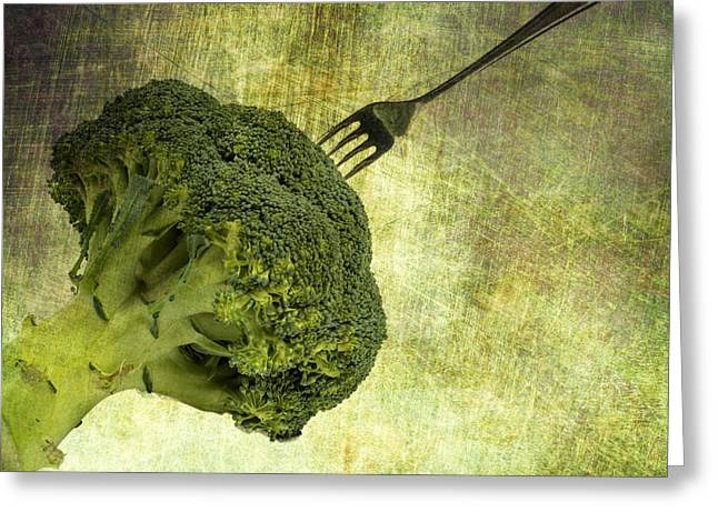 Stainless Steel Digital Art Greeting Cards - Eat your broccoli Greeting Card by Patricia Hofmeester
