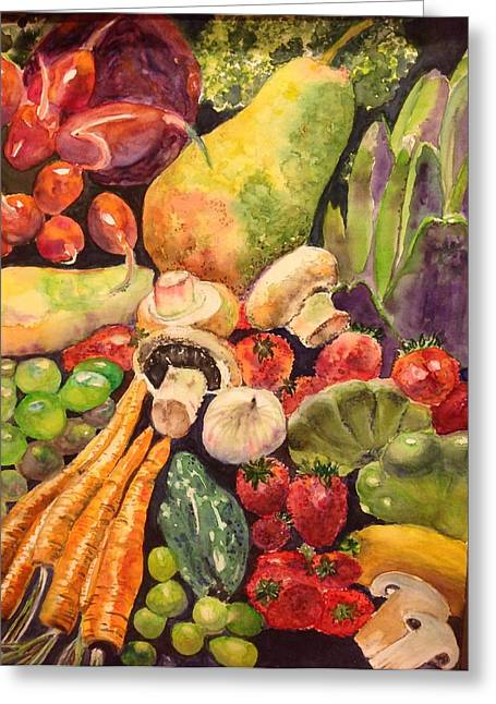 Broccoli Paintings Greeting Cards - Eat Your Fruits and Vegetables Greeting Card by Kathy Sievering