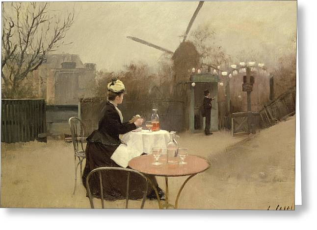 Outdoors Greeting Cards - Eating Al Fresco Greeting Card by Ramon Casas i Carbo