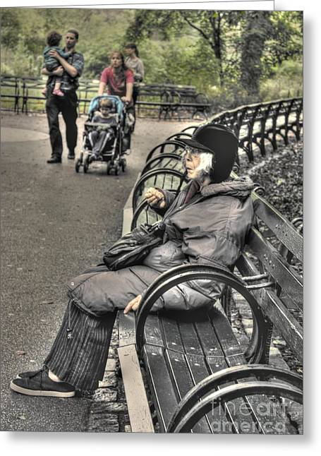 Eating Alone In Central Park Greeting Card by David Bearden