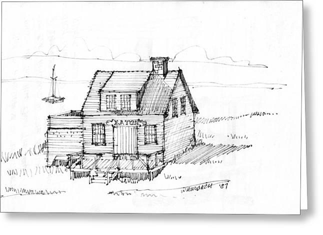 Maine Coast Drawings Greeting Cards - Eatons Residence Greeting Card by Richard Wambach