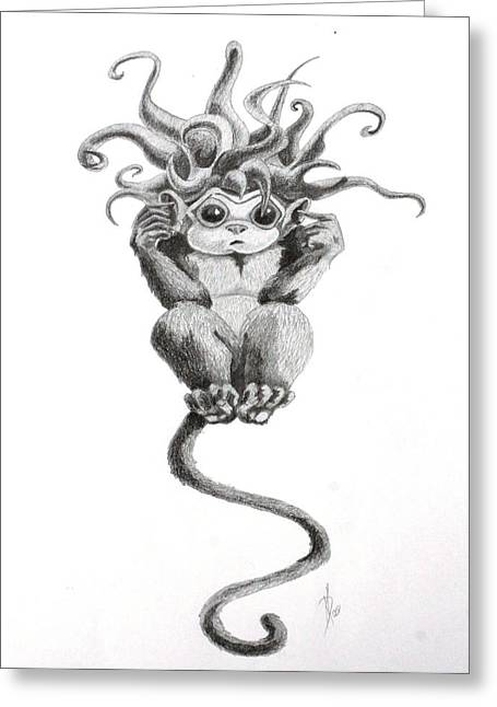 Jester Greeting Cards - Eavesdrop Evil Drawing Greeting Card by Kd Neeley