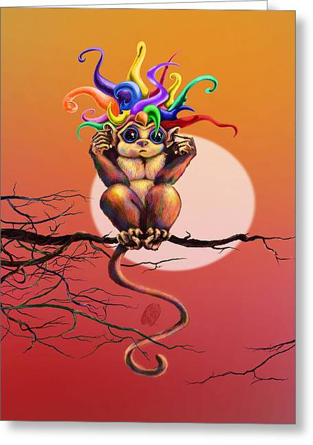 Jester Greeting Cards - Eavesdrop Evil Greeting Card by Kd Neeley
