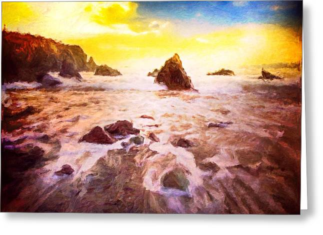 Ocean Shore Mixed Media Greeting Cards - Ebbing Tide Greeting Card by Mark Taylor