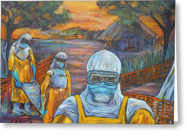 Hazmat Suit Greeting Cards - Ebola Greeting Card by Susi LaForsch