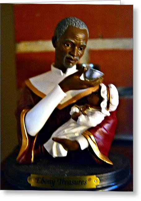 African American Art Ceramics Greeting Cards - Ebony Treasures Greeting Card by Rondahl Mitchell