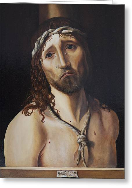 Ecce Paintings Greeting Cards - Ecce Homo after Antonello da Messina Greeting Card by Massimo Tizzano