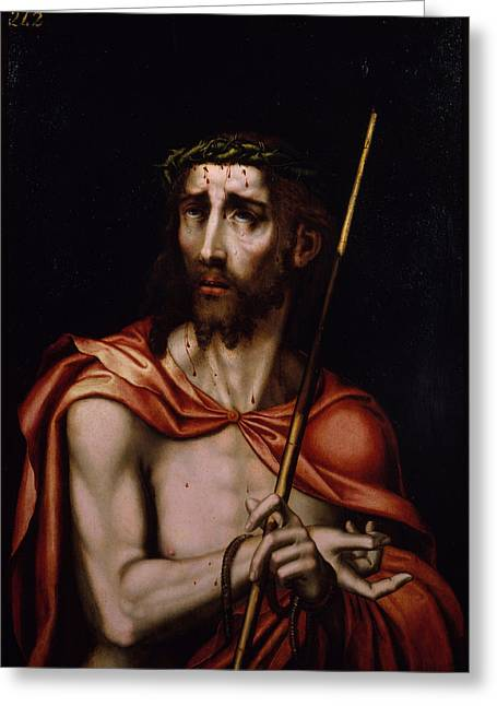 Ecce Paintings Greeting Cards - Ecce Homo Greeting Card by Luis de Morales