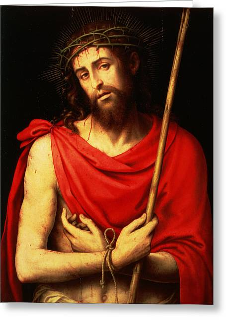 Jesus Greeting Cards - Ecce Homo Oil On Panel Greeting Card by Vicente Juan Macip