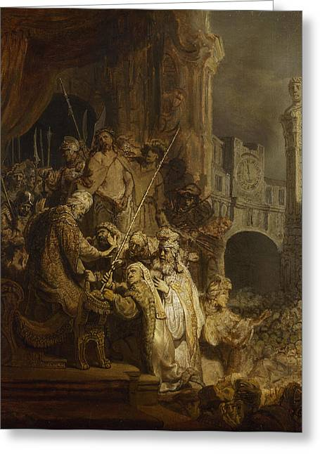 Ecce Paintings Greeting Cards - Ecce Homo Greeting Card by Rembrandt