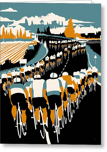 Bike Race Greeting Cards - Echelon Greeting Card by Eliza Southwood