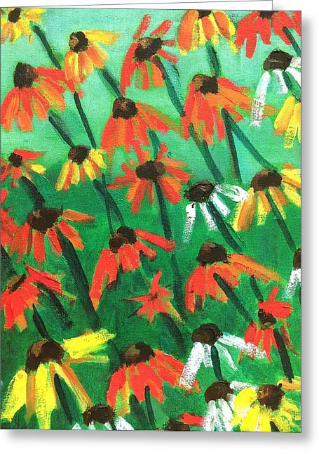 Abstracted Coneflowers Paintings Greeting Cards - Echinacea Greeting Card by Kendall Wishnick Adams