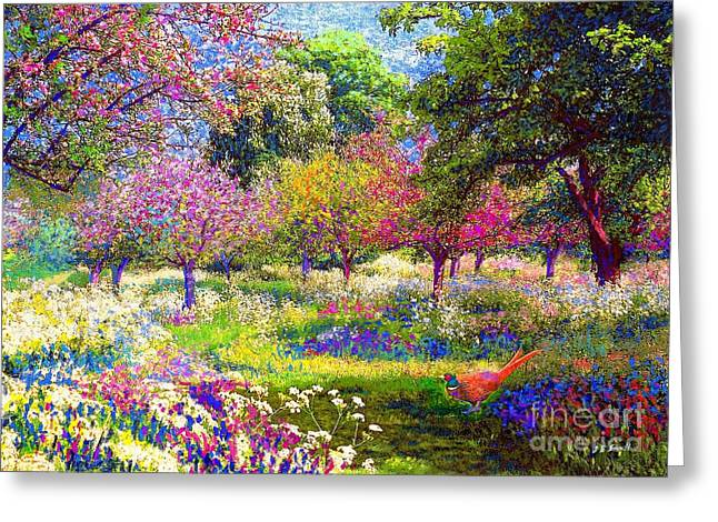 Vibrant Paintings Greeting Cards - Echoes from Heaven Greeting Card by Jane Small
