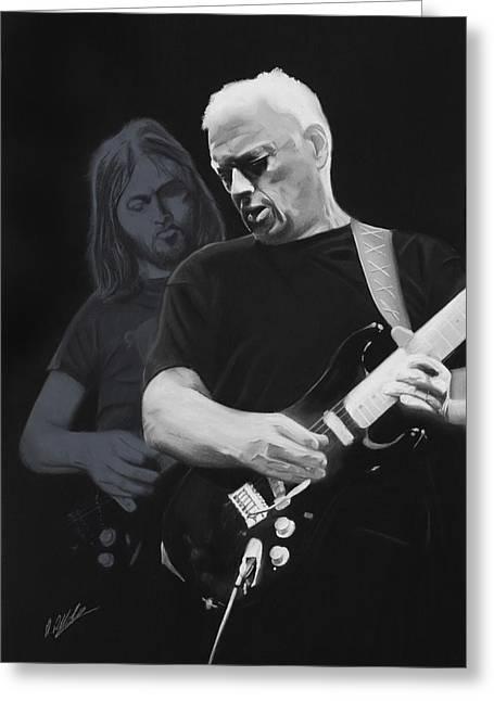 David Pastels Greeting Cards - Echoes of David Gilmour Greeting Card by David Alldridge