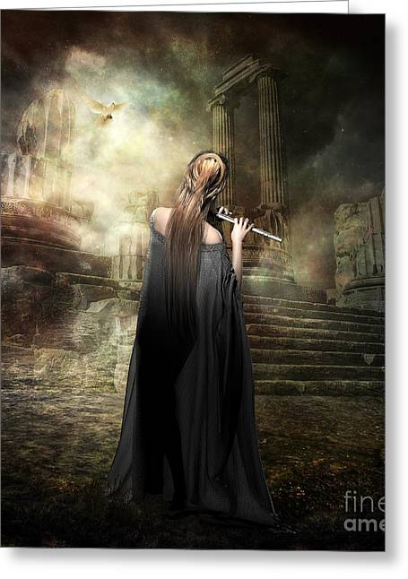 Greek Ruins Greeting Cards - Echoes of Euterpe Greeting Card by Shanina Conway