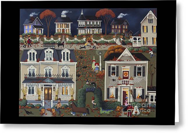 Halloween Folk Art Greeting Cards - Echoes of Trick or Treat Greeting Card by Catherine Holman