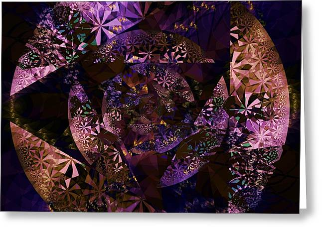 Fractal Orbs Greeting Cards - Echoes Through the Night Veil  Greeting Card by Elizabeth McTaggart