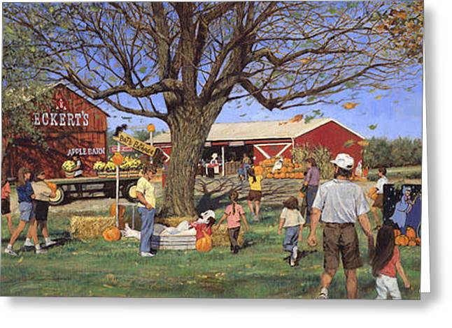 Patch Paintings Greeting Cards - Eckerts Market Under Big Tree 1995 Greeting Card by Don  Langeneckert