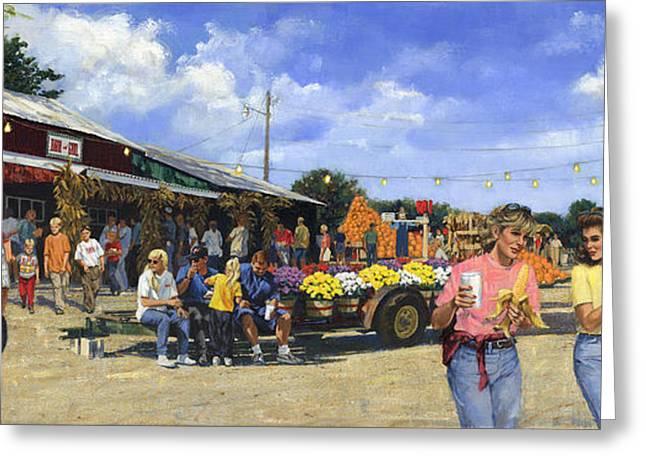 Festivities Paintings Greeting Cards - Eckerts Market Belleville Grandsons  Greeting Card by Don  Langeneckert