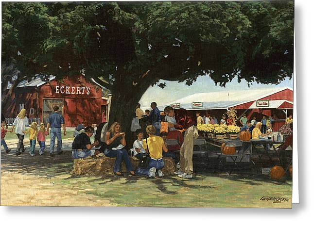 Patch Paintings Greeting Cards - Eckerts Market Under Big Tree Greeting Card by Don  Langeneckert