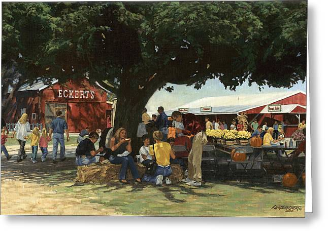 Big Trees Greeting Cards - Eckerts Market Under Big Tree Greeting Card by Don  Langeneckert