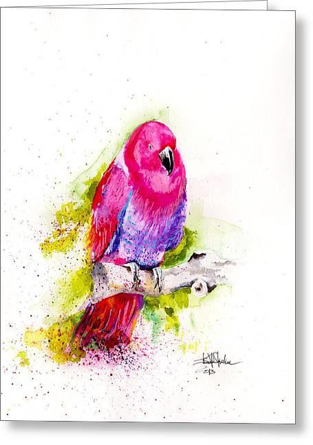 Parrot Art Print Greeting Cards - Eclectus Parrot Greeting Card by Isabel Salvador