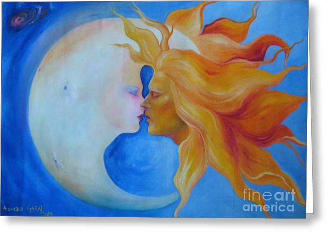 Boy Meets Girl Greeting Cards - Sun and Moon Eclipse Greeting Card by Celeste  Acevedo garat