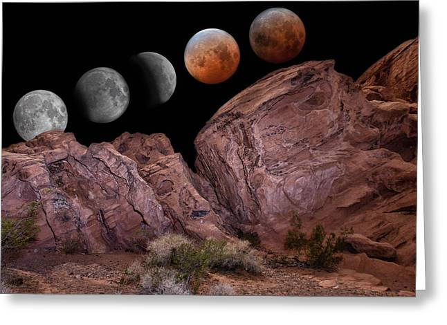 Science Fiction Pyrography Greeting Cards - Eclipse and Blood Moon over Red Stone Greeting Card by Will D
