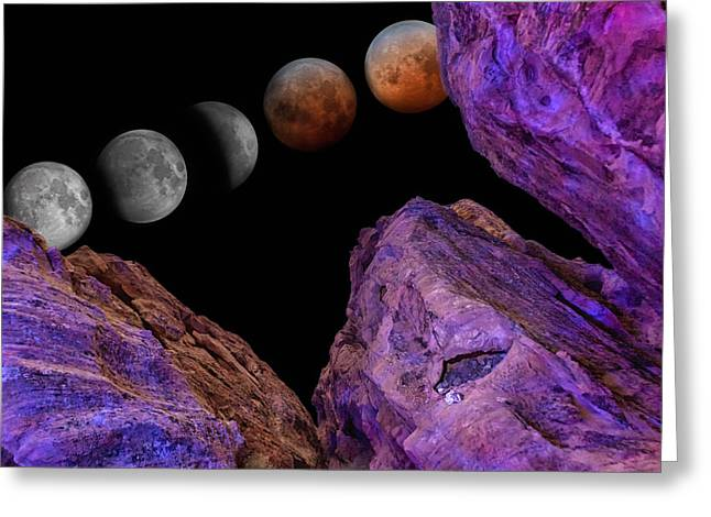 Science Fiction Pyrography Greeting Cards - Eclipse and Blood Moon over Redstone 2 Greeting Card by Will D