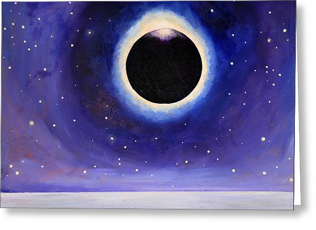 Solar Eclipse Paintings Greeting Cards - Eclipse at Sea Greeting Card by Cedar Lee