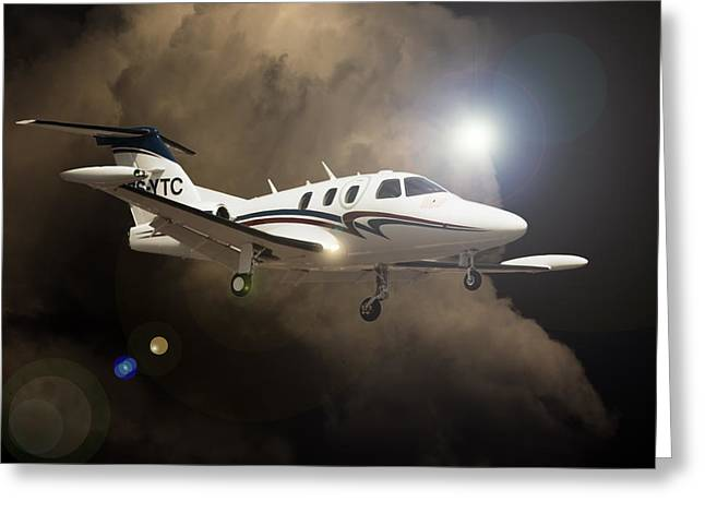 Private Jet Greeting Cards - Eclipse Landing Greeting Card by Paul Job