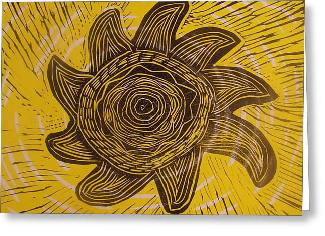 Linocut Drawings Greeting Cards - Eclipse of the sun in yellow Greeting Card by Stephen Wiggins