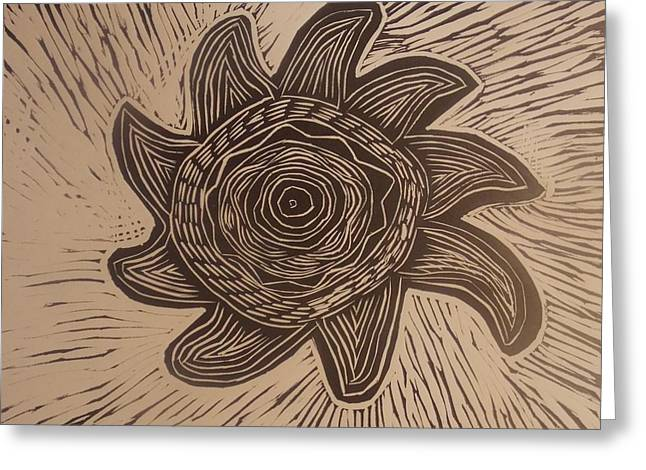 Linocut Drawings Greeting Cards - Eclipse of the sun Greeting Card by Stephen Wiggins