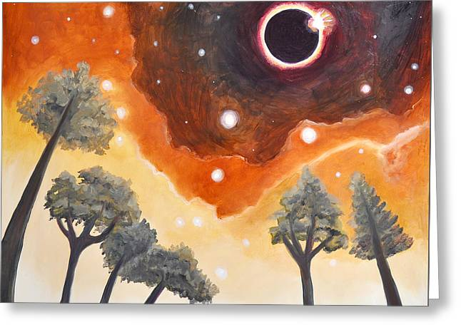 Solar Eclipse Paintings Greeting Cards - Eclipse Over Watchful Forest Greeting Card by Cedar Lee