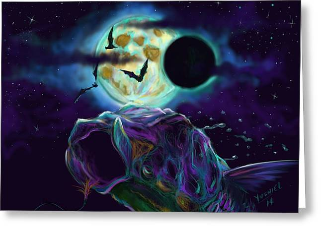 Shark Digital Art Greeting Cards - Eclipse Rush  Greeting Card by Yusniel Santos