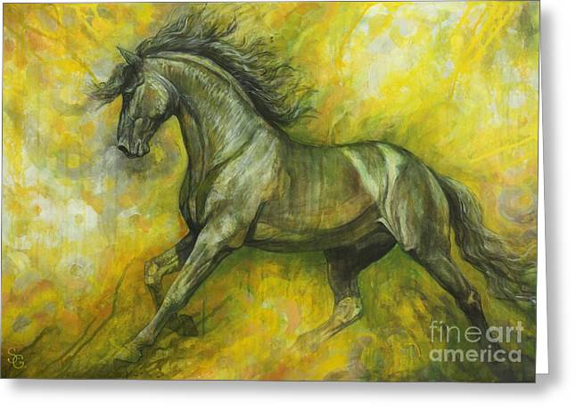 Black Horses Greeting Cards - Eclipse Greeting Card by Silvana Gabudean