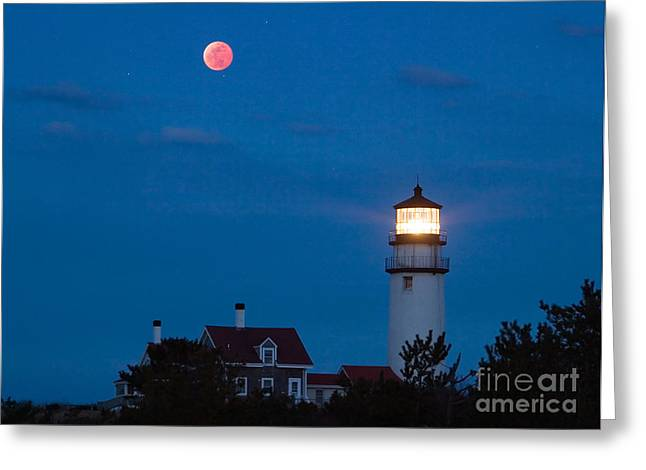 Cape Cod Tourism. Greeting Cards - Eclipsed Moon Greeting Card by Chris Cook