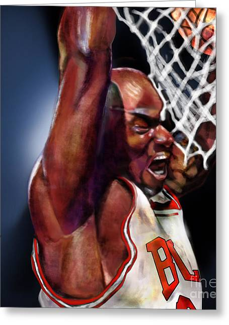 Basket Ball Greeting Cards - Eclipsing The Moon - Jordan  Greeting Card by Reggie Duffie